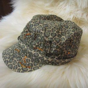 3/$30 leopard print green newsboy baker boy cap
